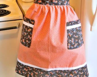 Vintage Style Half Apron in Brown and Orange
