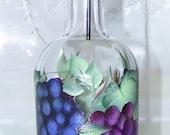 Oil Vinegar Bottle hand painted Red blue Grapes
