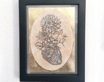 ONLY 1 LEFT - Sacred Heart Metallic Gold Leaf Tea Stained 5x7 Floral Anatomical Art Print Free shipping to usa customers