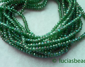 NEW Pretty Faceted Green AB Crystal Rondelles (100)