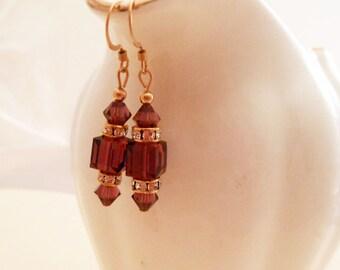 BEAUTIFUL Swarovski Crystal Earrings in Gorgeous Amethyst