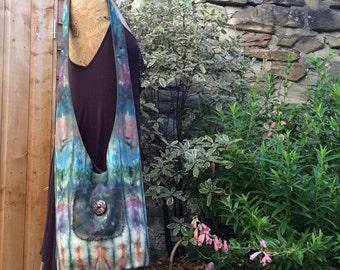 Hand Dyed Cotton Sling Bucket Bag, Shoulder Bag