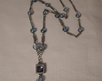 BLUE PENDANT NECKLACE / Choker / Glass / Fashionista / Trendy / Chic / Modernist / Retro / Downton Abbey / Mod / Hip / Art Moderne Accessory