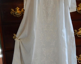 Antique Childs Cotton Lawn Baby Dress or Christening Gown w/ Embroidered Butterfly