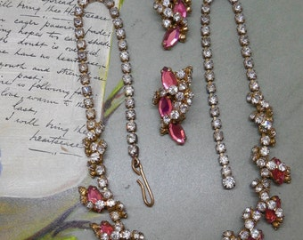 Vintage Pink  Rhinestone Choker Necklace  and Earrings Set