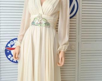 Vintage 80s Womens Silk Dress/Bridal Wedding Semi Formal Medium/Neiman-Marcus/Sequin Applique Accent/Candlelight Ecru/Tea Length/6 or 8