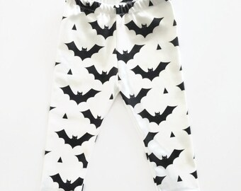 Bat Leggings Harems Halloween Organic Cotton Black Monochrome Unisex H