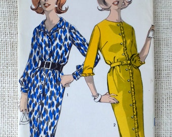 Advance 2971 1960s Misses Dress with Slim Skirt 32 Bust Size 12 vintage pattern 1950s Sheer shirtwaist ruffled belted