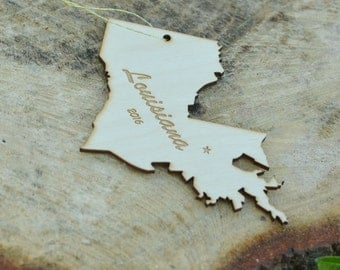 Natural Wood Louisiana State Ornament WITH 2016