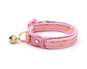 Arrow Cat Collar - Metallic Gold Arrows on Light Pink - Small Cat / Kitten Size or Large Size - Woodland - Boho