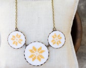 Cross stitch necklace with yellow Scandinavian embroidery, n009yellow