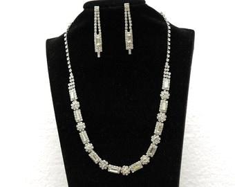 Rhinestone Wedding Jewelry Set, Bridal Necklace and Earrings, Silver Prom Jewelry Set, Choker Necklace, Prom Jewelry, Prom Necklace