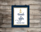 Cards and Gifts Sign, Nautical Navy Blue & Gold Shower Table Sign, Wedding, Baby, Anchor, 2 Sizes, DIY Printable, INSTANT DOWNLOAD