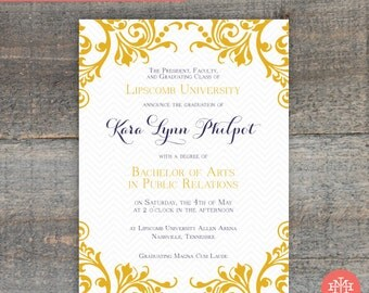Graduation Announcement Printable File, Invitation, Grad Party, Birthday Party, Lingerie Shower, Wedding Shower, Bridal Shower Print at Home