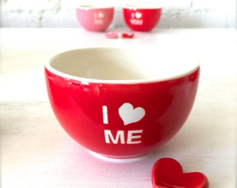 Handmade I Love Me Porcelain Red Bowl and Heart Cutlery Rest with Love Heart Gift Tag Set