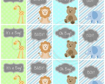 Baby Boy Gift Tags, Baby Shower Tags, Digital Zoo Animal Graphic Print, INSTANT DOWNLOAD