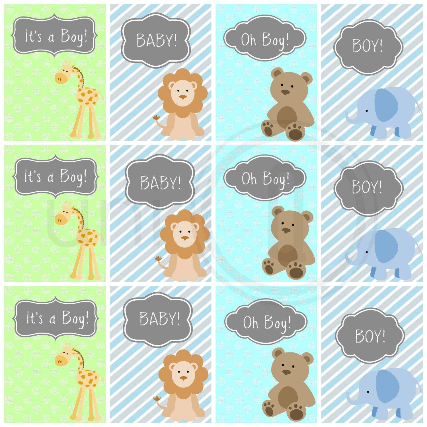 Baby Boy Gift Tags : Baby boy gift tags shower digital zoo animal