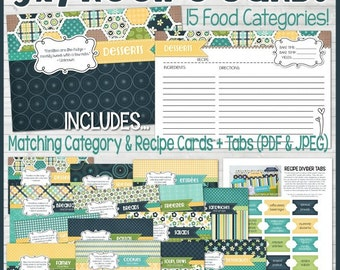 Printable RECIPE CARDS (Navy), 5x7 Recipe Card Kit, Recipe Printables, Recipe Box, Recipe Card Box, Recipe Card Dividers - Instant Download