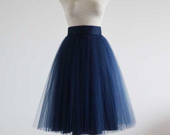 Navy Tulle skirt. Tulle skirt. Woman tulle skirt. Tea length tulle skirt. Tutu skirt.