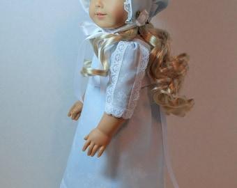 "Regency Era Summer Dress with Bonnet, and Pantalettes for 18"" Dolls"