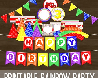 Rainbow Birthday Party Set - Printable Rainbow Party Package with Banners, Cupcake Toppers, and More