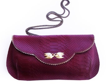 SALE  Large Burgundy evening clutch bag, Cranberry leather purse, crossbody wine red clutch purse with gold swans, women's wallet