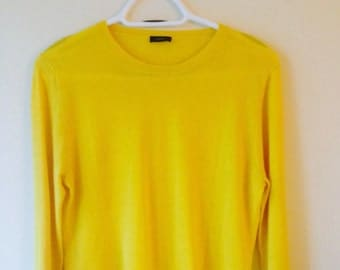 Bright yellow soft cashmere women's pullover sweater with sleeve patches, size large