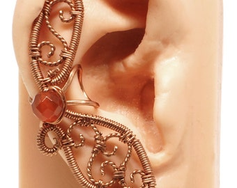 Filigree Ear Cuff Copper and Carnelian