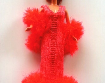 Barbie v neck gown of bright tangarine with fluffy bottom and boa