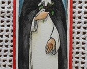 Saint Rose of Lima - Handpainted Watercolor Bookmark