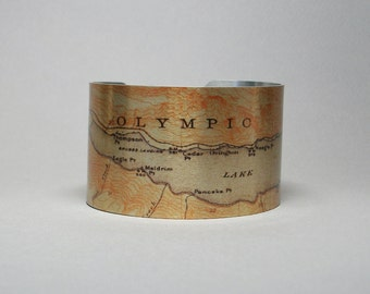 Olympic National Park Lake Crescent Washington Map Cuff Bracelet Hiking Gift for Men or Women