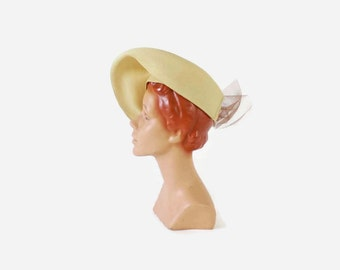 Vintage 40s Straw HAT / 1940s Dramatic Summer TILT Hat