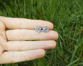Tiny Succulents - Fine Silver and Sterling Stud Botanical Earrings- by Quintessential Arts