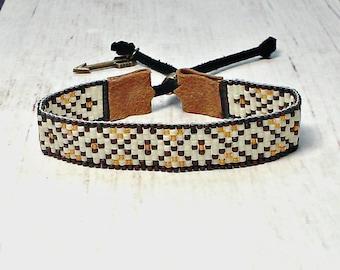 Brown Seed Bead Bracelet - Beaded Bracelet - Adjustable Bracelet -Womens Bracelet - Boho Bracelet - Bead Woven Bracelet