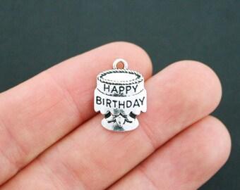 4 Happy Birthday Charms Antique Silver Tone Birthday Cake - SC5124