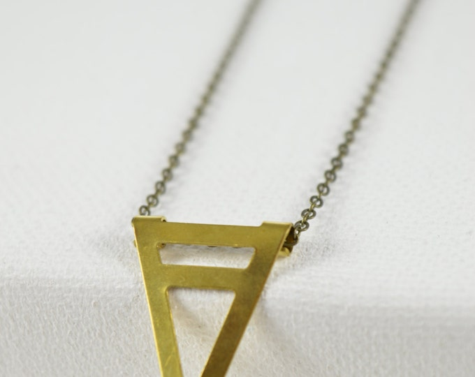 Triangle Brass Necklace, Brass Triangle Necklace, Long Geometric Necklace, Long Boho Necklace, Hippie, Festival, Boho, Bohemian