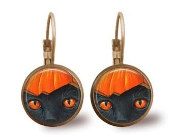 Halloween Jewelry Halloween Earrings Cat Earrings Pumpkin Earrings Pumpkin Jewelry Brass Jewelry Holiday Jewelry Brass Earrings