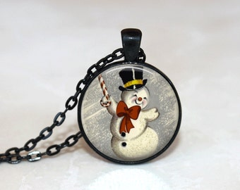 Christmas Necklace Christmas Jewelry Glass Tile Necklace Snowman Jewelry Snowman Necklace Glass Tile Jewelry Silver Jewelry Black Jewelry