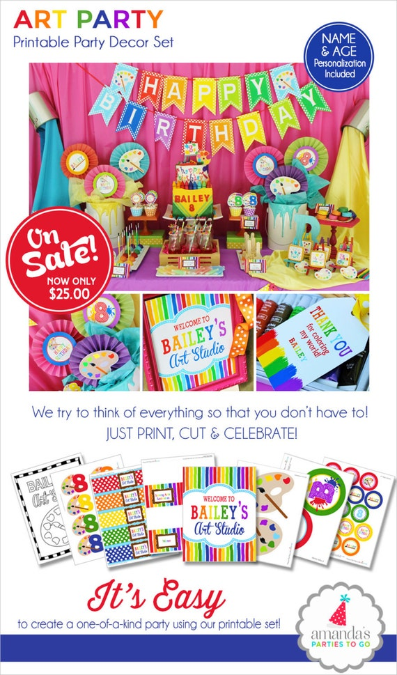 Art Birthday Party | Art Party | Art Birthday Decorations | Art Party Printables | Artist Party | Rainbow Birthday | Amanda's Parties To Go