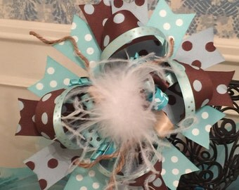 Turquoise Brown & White Over The Top Hair Bow - Western - Country
