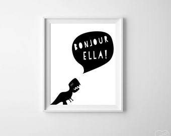 Personalized Name Kid's Art ,  Dinosaur Kids Room Art Print, Black White Dinosaur Boy Room Hello , Nursery Dinosaur Large Poster Wall Art