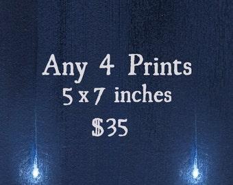 Pick Any 4 Prints / Print Deal, Sale / 5x7 Fine Art Matte Print