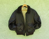 SALE ll bean mens leather aviation bomber shearling lined chocolate brown leather