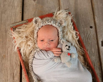 Newborn Photo Prop - Bear Hat and Teddy Bear Toy, Boy Bear Hat, Girl Bear Hat, Crochet Teddy Bear Toy, Crochet Hat & Bear, Baby Shower Gift