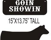 Show steer sign or yard stake.  Custom Livestock 4-H FFA metal art pen, barn or yard decor. Animal decoration personalized.