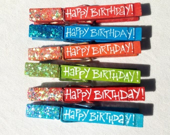Happy Birthday clothespins orange red turquoise apple green hand painted glitter magnets