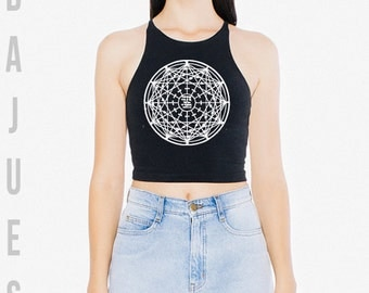 BAJUES Astrology Black CROP TOP Tank Top