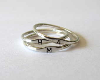 Initial ring. Silver ring band. Personalized stacking rings.