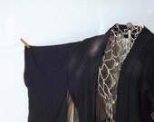 Vintage Japanese Kimono, Short Black Happi Coat,  Silk Haori Jacket, Asian Clothing, Madame Butterfly Costume