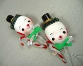Vintage Snowman Christmas Picks for Corsages Retro Crafts Decorations Lot of 2 NOS Shiny Brite